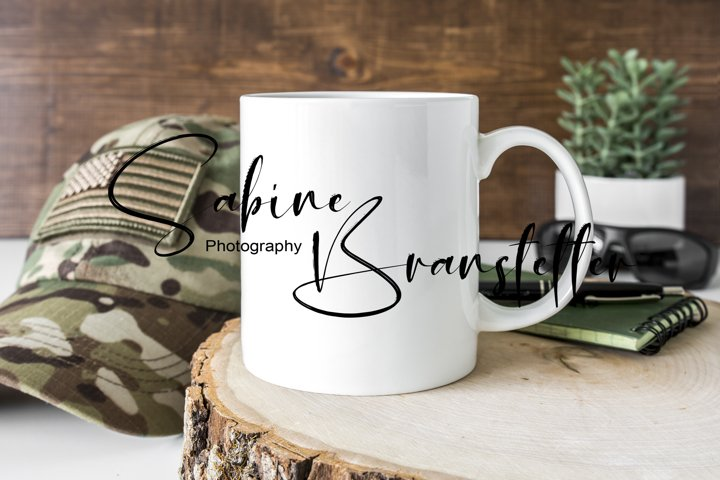 Styled Stock Photo 11oz Coffee Mug, Hunting, Military Mockup