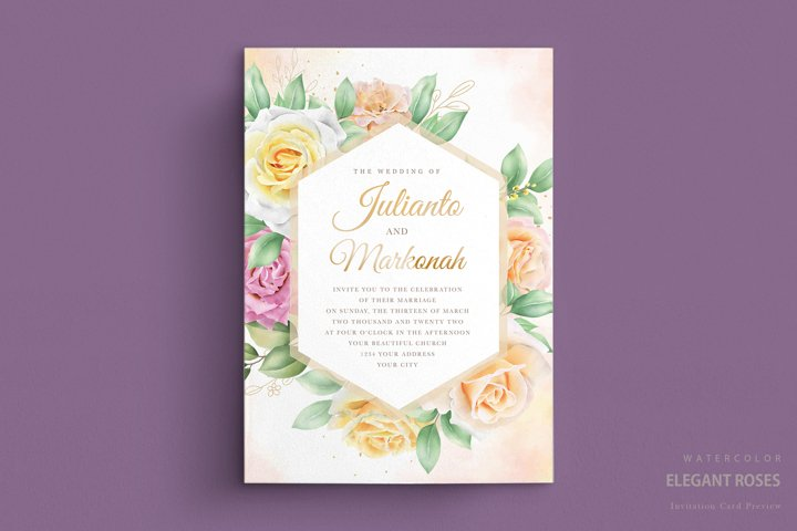elegant hand drawing wedding invitation floral design