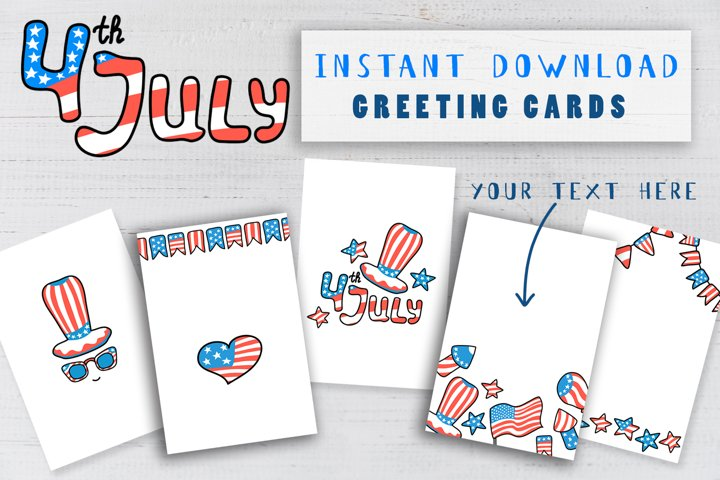 USA Independence Day Postcard Pack. American Greeting Card