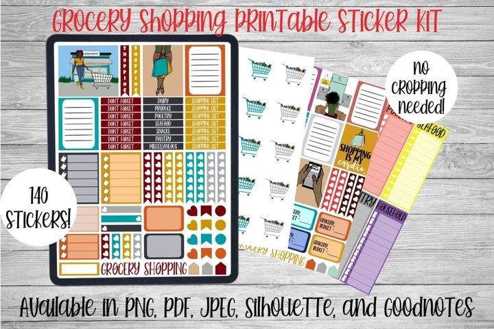 Grocery Shopping Printable Sticker Kit l Digital Planner