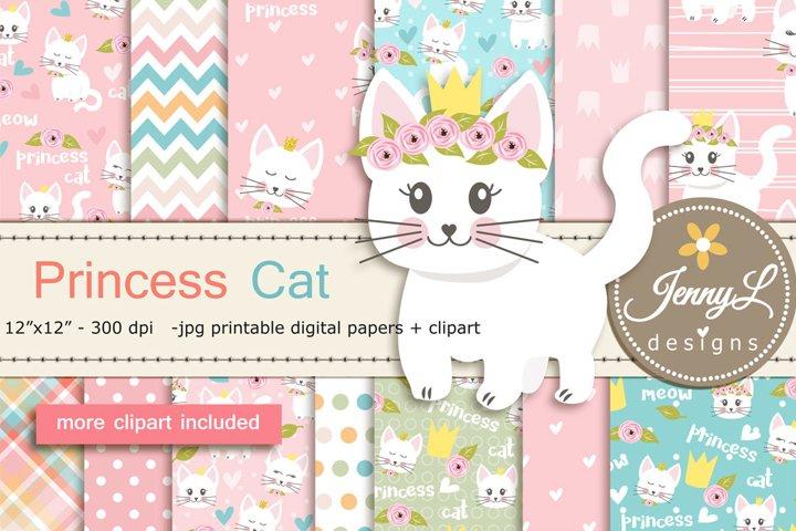 Princess Cat Digital Paper and Clipart