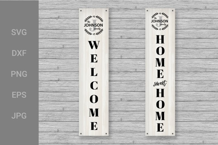 Family Monogram SVG, Family Monogram Porch Sign Vertical