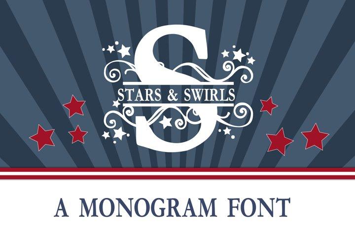 PN Stars & Swirls Monogram Banner Font - Free Font of The Week Font