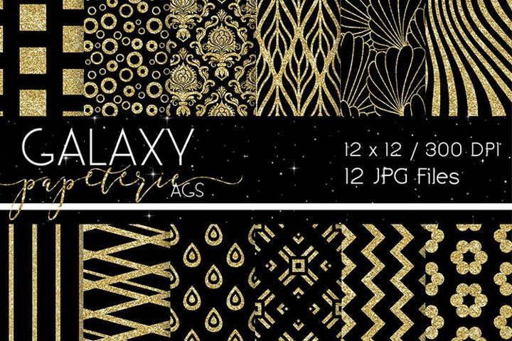 Black and Gold Glitter Digital Papers - Patterns