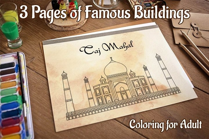 Coloring Pages with Indian Temples JPG EPS Ai CDR