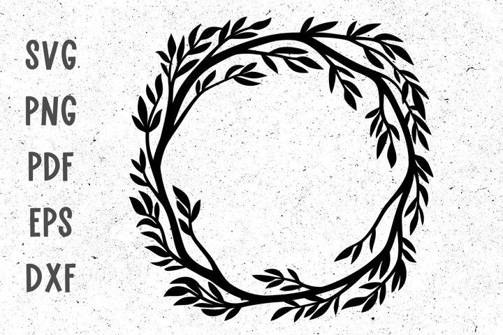 Wreath svg Floral frame svg Tree frame Floral monogram svg