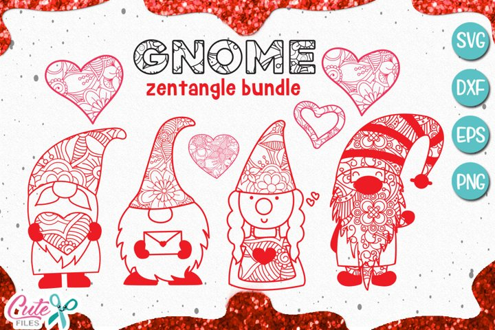 Gnome mandala zentangle, Valentines day svg for crafters