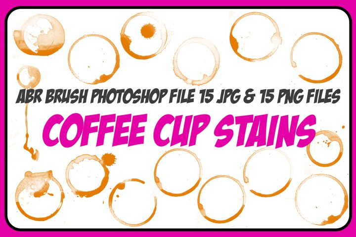 1 ABR, 15 JPG, 15 PNG Coffee Cup Stain and Spills! And Bonus