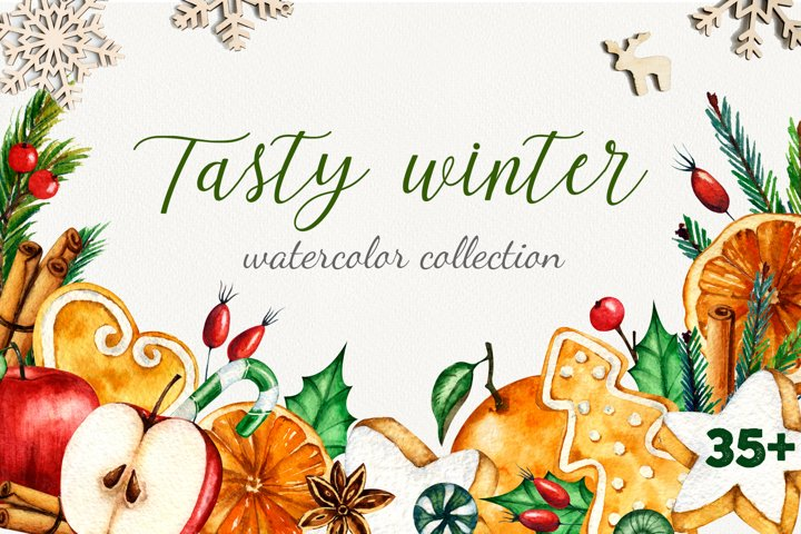 Tasty winter watercolor set