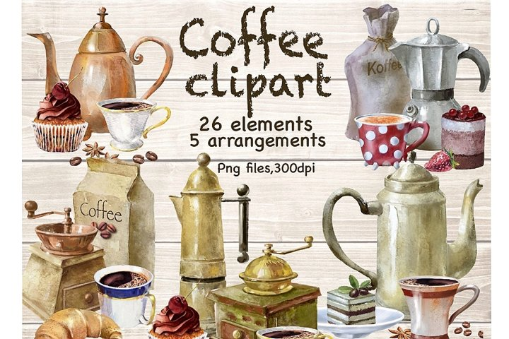 Watercolor Coffee Clipart .Coffee Shop. Coffee and Pastries