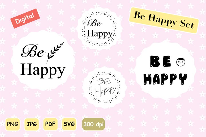Lettering Design Set - Be Happy