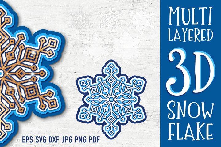 3D Layered Snowflake | SVG Cut Files