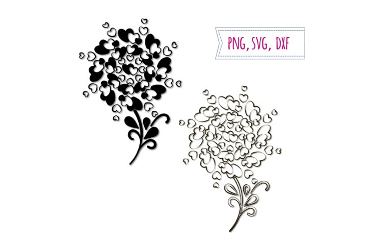 2 Hearts trees svg. Love clipart. Wedding clip art