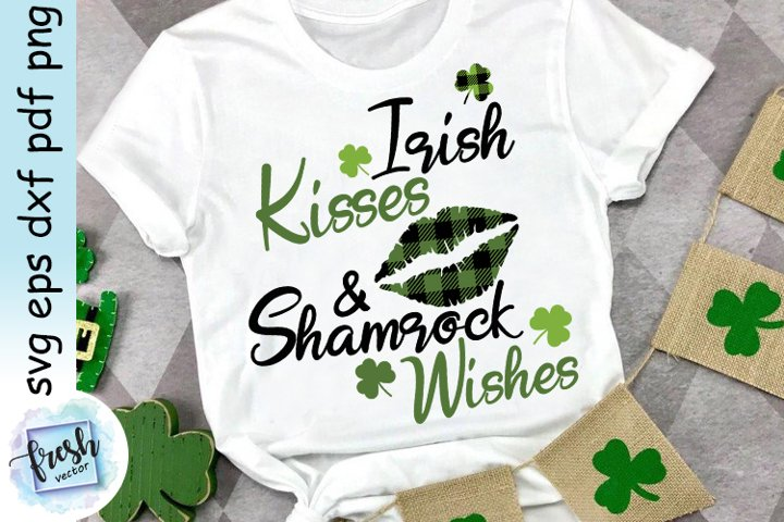 Irish Kisses & Shamrock Wishes SVG St. Patricks Day SVG