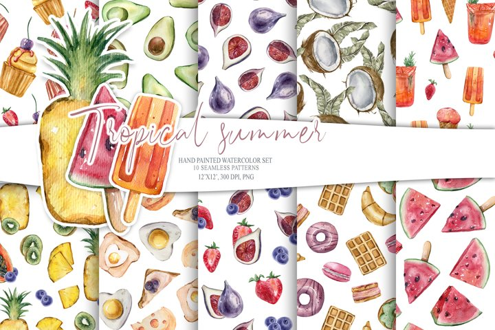 Tropical fruits seamless digital paper