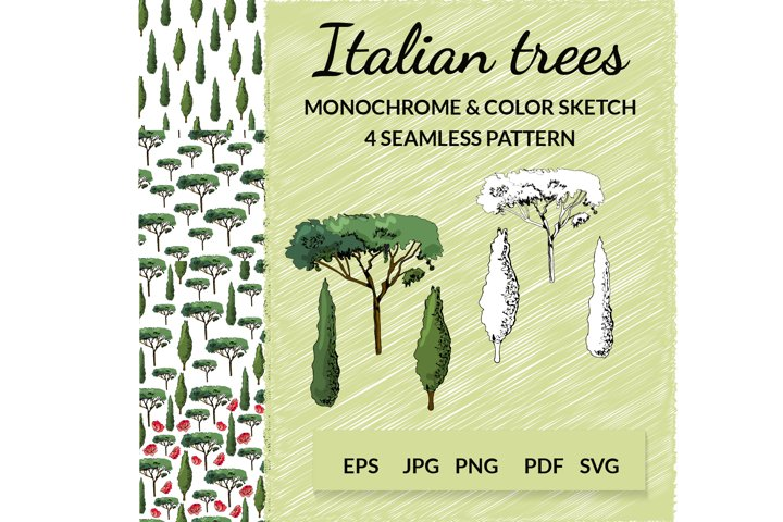 Landscape clipart. Hand drawn italian trees in sketch style.