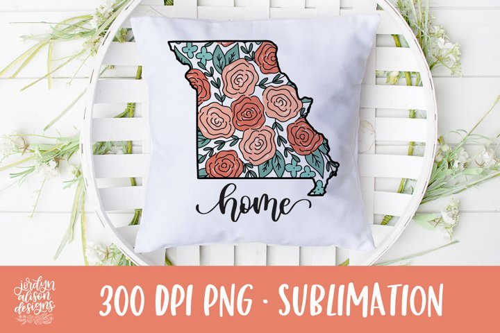 Home Missouri, Coral Roses Sublimation Design