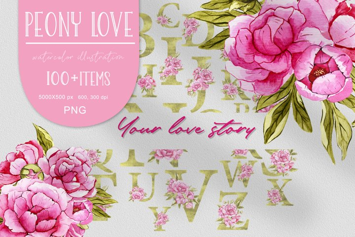 Watercolor floral set pink peony PNG