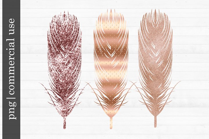 Sublimation Rose Gold Feathers
