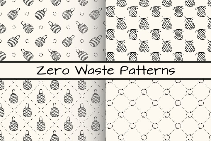 4 seamless patterns with mesh shopping bags