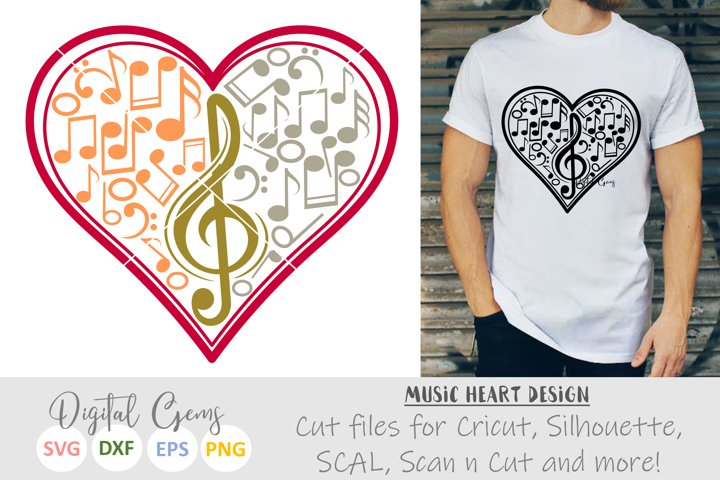 Music note heart SVG / DXF / EPS / PNG files