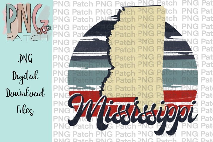 Retro Red, White, and Blue, Mississippi, State PNG File