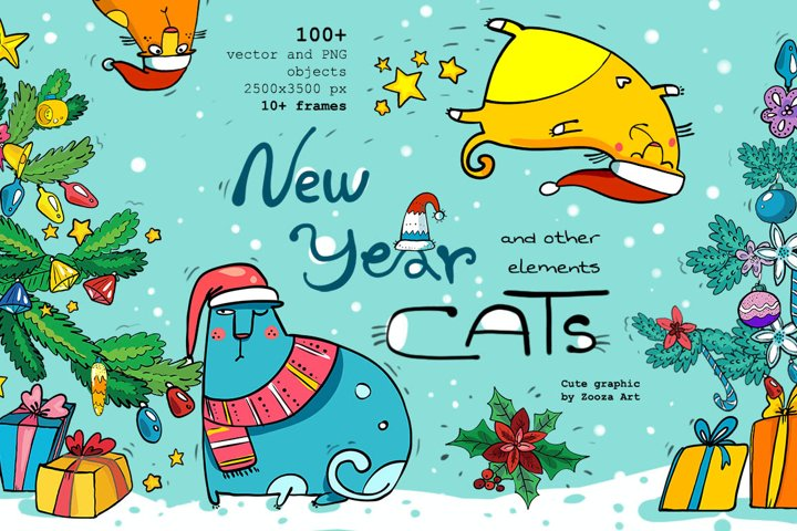 New Year Cats illustrations