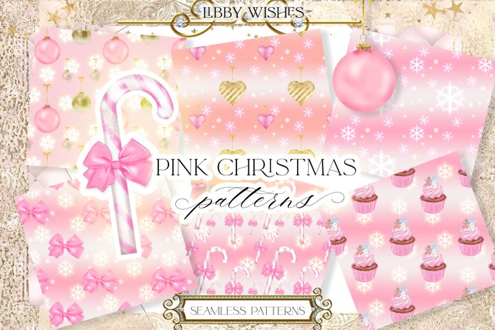 Christmas patterns in pink