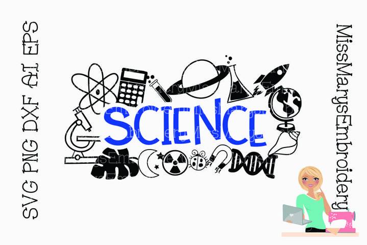 Science Title with Symbols | Science SVG | School SVG |