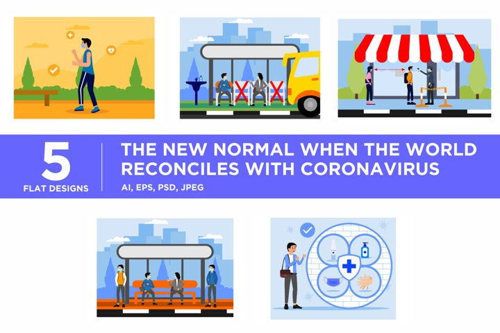 The New Normal Covid19 Flat Illustration Concept