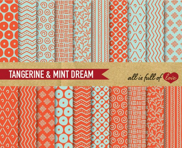 Mint and Orange Digital Paper Hand Draw Background Paper Orange and Green