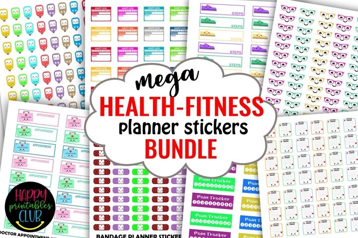 Mega Health Fitness Planner Stickers Bundle- Planner Sticker
