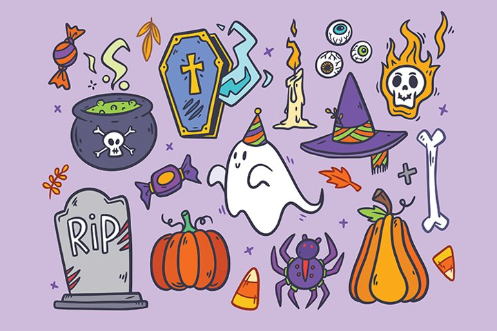 Halloween Hand drawn Vector Set, Printable and Editable
