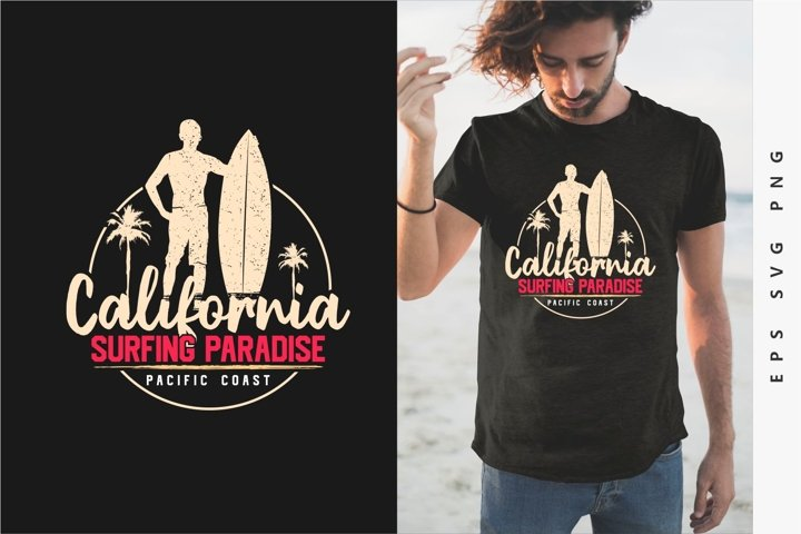 California Surfing Paradise T-shirt Design
