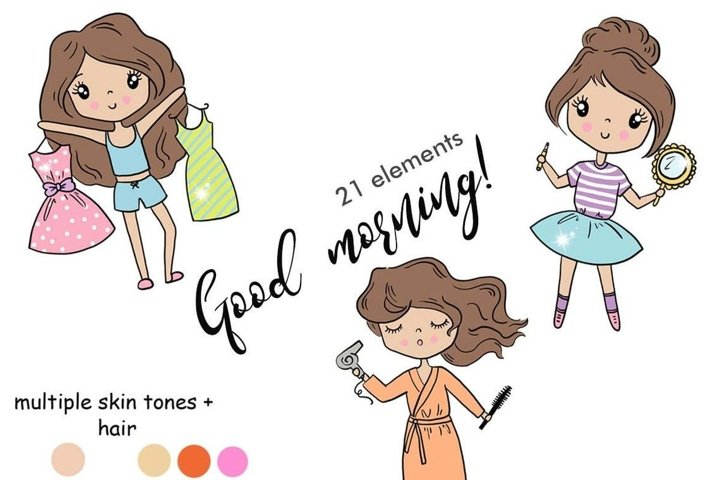 Functional Girls GOOD MORNING Decorative StIckers - PNG