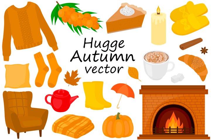 Set Hygge autumn vector illustration