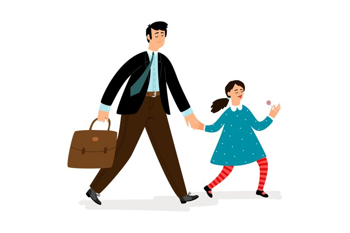 Father with daughter going in school vector