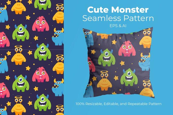 Cute Monster - Seamless Pattern
