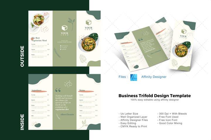 Vegetarian trifold brochure design template