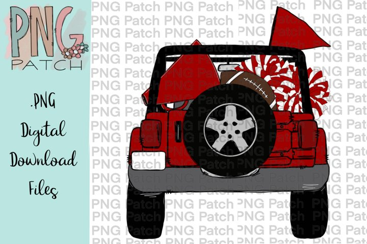 Topless Red and White SUV, Football Tailgating, PNG Files
