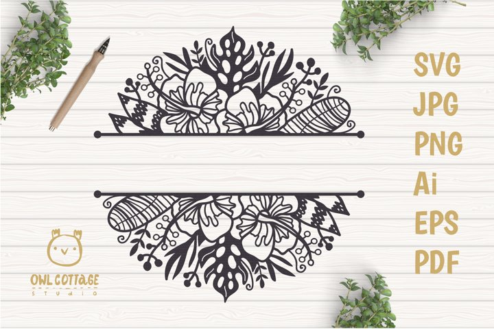Tropical Border SVG, Luau Decor SVG File, Wedding Flowers example