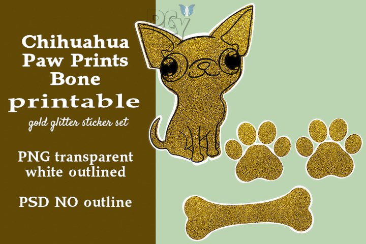 Chihuahua Gold Glitter Printable Sticker SET