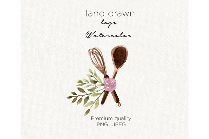 Watercolor logo whisk bakery clipart bakery logo digital