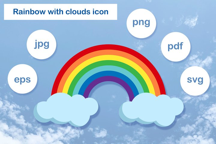 Illustration of the rainbow and clouds.