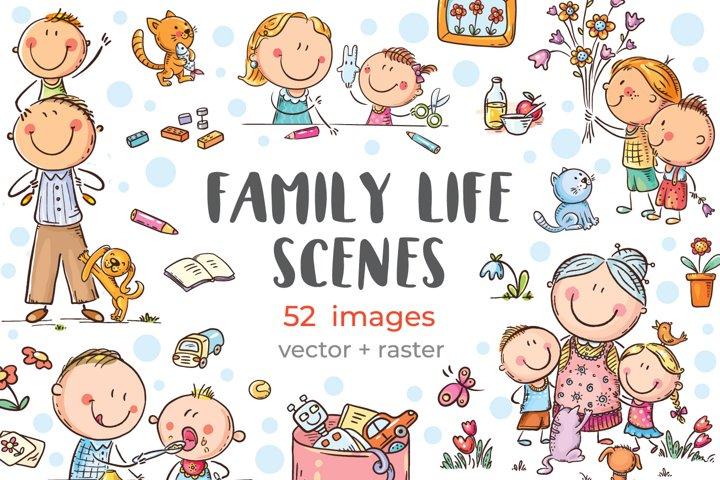 Clipart bundle. Family life scenes.