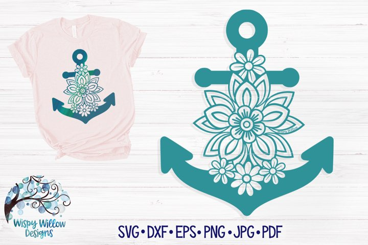 Floral Anchor SVG | Anchor with Flowers SVG Cut File