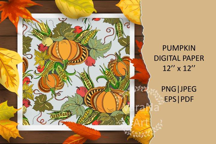 Pumpkin digital paper. Autumn digital paper 12x12