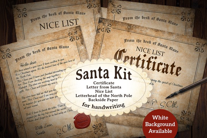 Vintage Santa Kit - Printable - for Handwriting