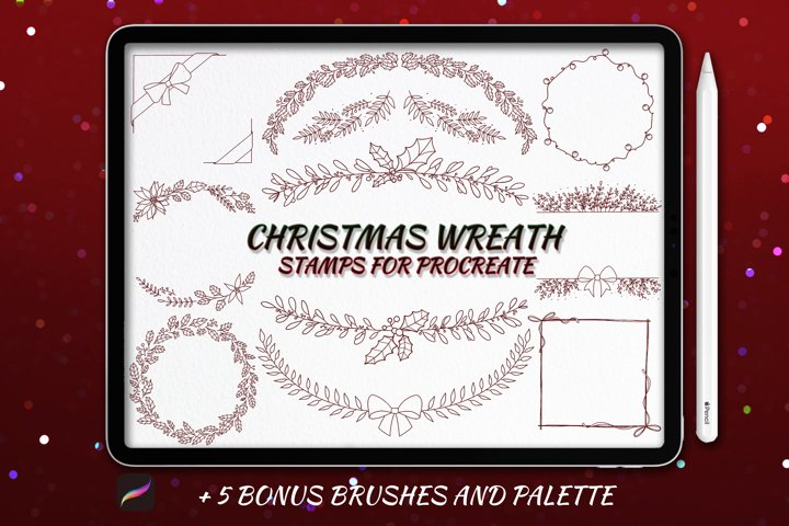 20 Christmas Wreath Stamp Brushes for Procreate