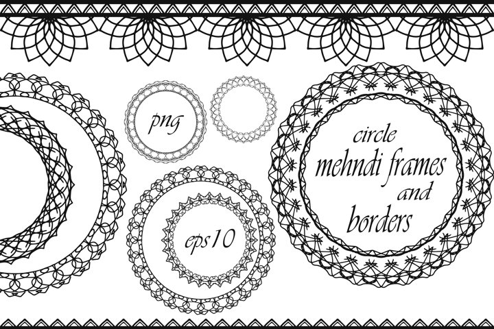 Round frames and borders in mehndi style